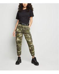 New Look - Petite Khaki Camo Cuffed Utility Trousers - Lyst