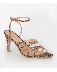 07707ea2251d Public Desire Safari Pointed Strappy Heels In Mixed Animal Print - Lyst