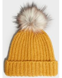 New Look Yellow Ribbed Knit Faux Fur Bobble Hat