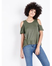 0225034146fe3 Apricot Olive Green Cold Shoulder Top in Green - Lyst