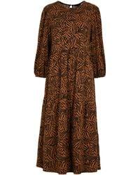 New Look - Brown Zebra Print Midi Dress - Lyst