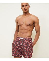 New Look Red Fan Print Swim Shorts