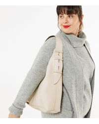 New Look Cream Leather-look Slouch Tote Bag - Natural