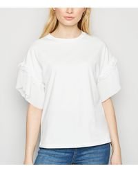 New Look - White Pleated Sleeve T-shirt - Lyst