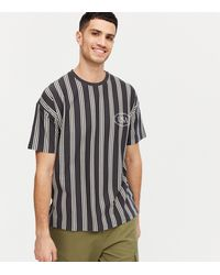 New Look Dark Grey Stripe Usa Embroidered T-shirt