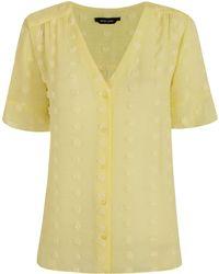New Look Pale Yellow Chiffon Spot Shirt