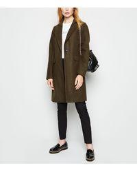 New Look Olive Revere Collar Coat - Green