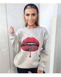 AX Paris Crew Neck Lips Sweatshirt New Look - Grey