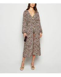 New Look Brown Leopard Print Cuffed Beach Kimono