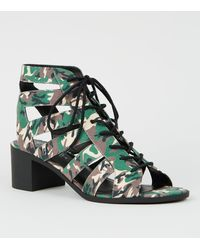 d2f3669d53f Green Camo Lace Up Ghillie Heel Sandals