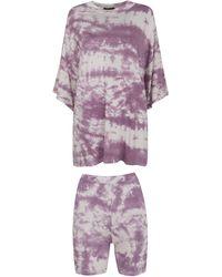 New Look Dark Purple Tie Dye Cycling Short Set