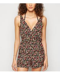 New Look Pink Floral Belted Beach Playsuit