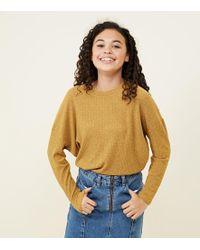 New Look - Girls Mustard Fine Knit Batwing Sleeve Top - Lyst