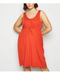 Vero Moda Curves Red Tie Front Midi Dress