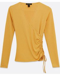 New Look Yellow Ribbed Ruched Side Wrap Top