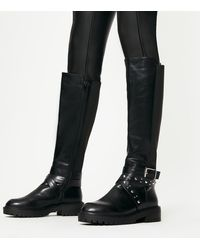 New Look Wide Fit Black Chunky Stud Strap Knee High Boots