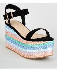 New Look Black Suedette Multi Plait Flatform Sandals