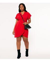 Mela Curves Red Wrap Mini Dress