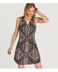 Apricot Green Geometric Zip Front Dress