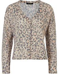 New Look Brown Leopard Print Fine Knit Cardigan