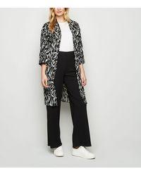 New Look Black Zebra Print Side Split Long Kimono