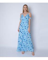 Cutie London Blue Spot Cold Shoulder Maxi Dress