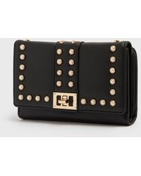 New Look Black Leather-look Faux Pearl Purse