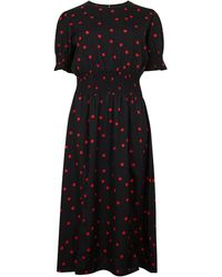 New Look Black Spot Side Split Midi Dress