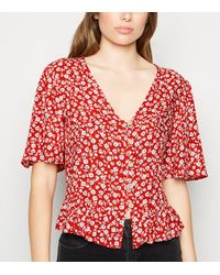 New Look Red Ditsy Floral Boxy Peplum Blouse