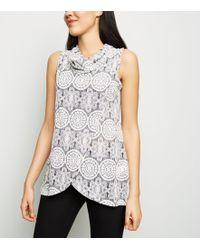 Apricot Grey Lace Print Cowl Neck Wrap Top