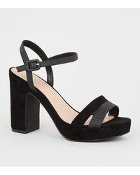 New Look Wide Fit Black Faux Snake Strap Platform Heels