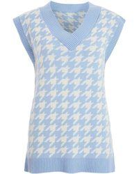 Quiz Blue Dogtooth Knit Vest Jumper New Look