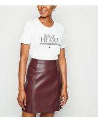 New Look Burgundy Coated Leather-look Mini Skirt - White