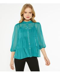 New Look Teal Chiffon Tiered Gem Button Blouse - Blue
