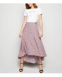 b4ea9dd28e Preen By Thornton Bregazzi Pale Blue Floral Print Chiffon Maxi Skirt ...