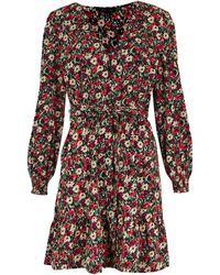 New Look Red Floral Puff Sleeve Belted Tea Dress