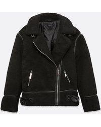 New Look Tall Black Teddy Aviator Coat