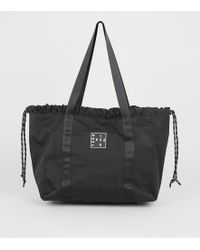 New Look Black Number Logo Drawstring Shopper Bag