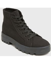 New Look Black Canvas Chunky High Top Trainer Boots