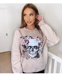 AX Paris Floral Skull Logo Sweatshirt New Look - Grey
