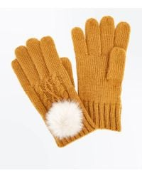 New Look Yellow Cable Knit Faux Fur Pom Pom Gloves