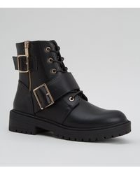 New Look Black Buckle And Zip Lace Up Biker Boots