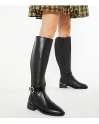 New Look Extra Calf Fit Black Faux Croc Strap Knee High Boots