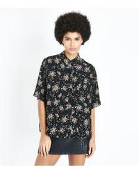 Apricot Black Ditsy Floral Short Sleeve Shirt