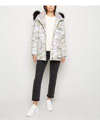 New Look Light Grey Camo Faux Fur Trim Parka Coat