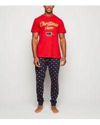 New Look Red Christmas Cheer Slogan Pyjama Set