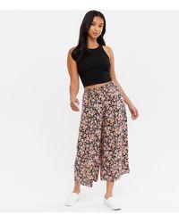 New Look Petite Black Floral Wide Leg Crop Trousers
