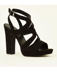 894553515ce New Look Wide Fit Black Round Toe Strappy Platform Courts in Black ...