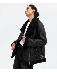 New Look Leather-look Faux Shearling Aviator Jacket - Black