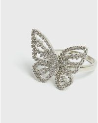 New Look Silver Cubic Zirconia Butterfly Ring - Metallic
